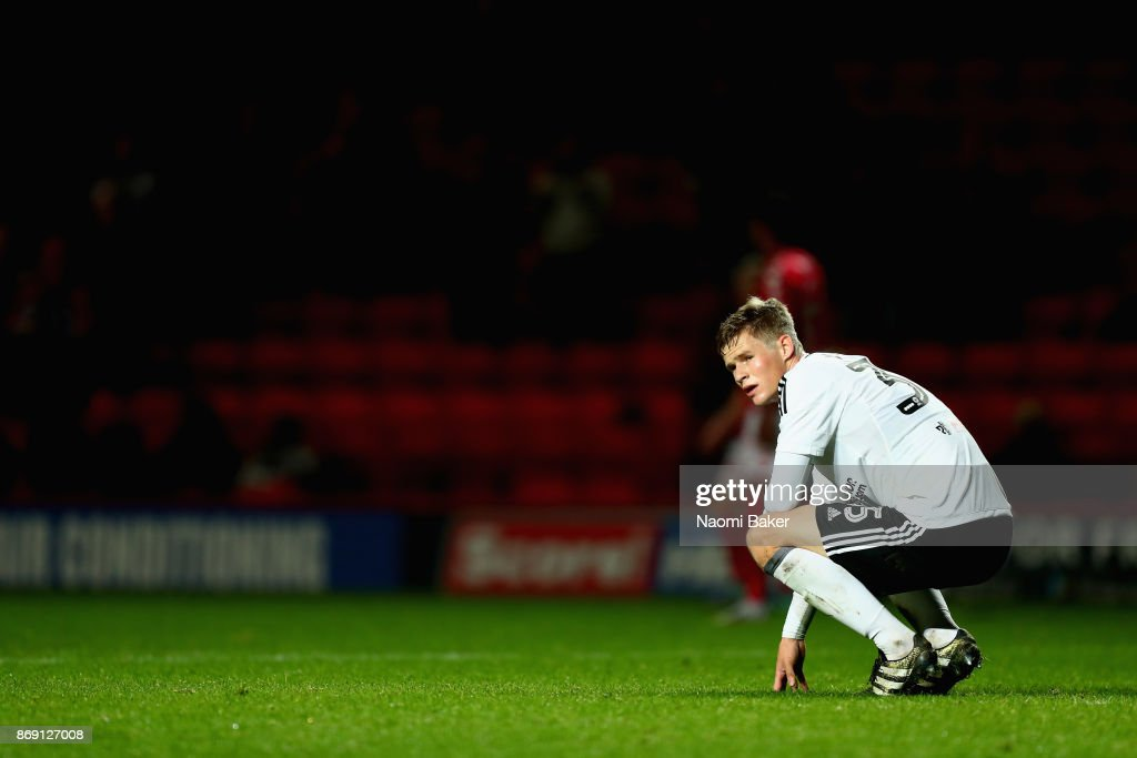 Robert Atkinson of Fulham shows dissapointment after the Checkatrade Trophy match between Charlton and Fulham at The Valley on November 1, 2017 in London, England.