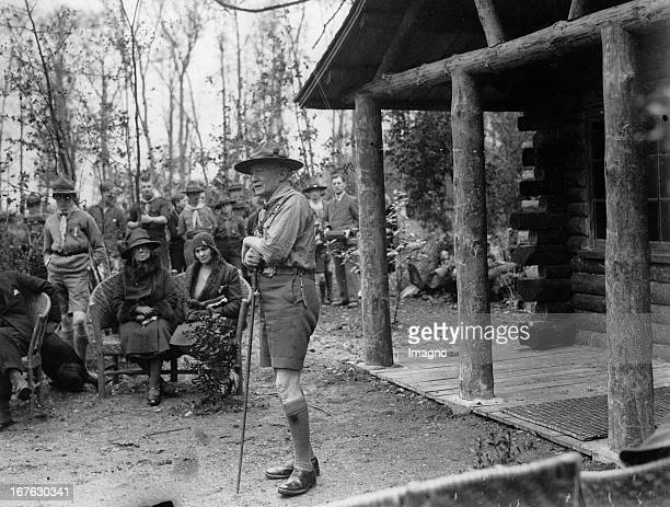 Robert BadenPowell making his speech at the opening of the Memorial Log Cabin at Gilwell Park in Epping Forest Photograph April 22th 1930 Robert...