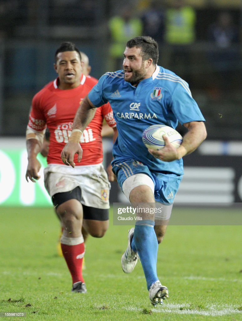 Robert Barbieri of Italy (C) during the international test match between Italy and Tonga at Mario Rigamonti Stadium on November 10, 2012 in Brescia, Italy.
