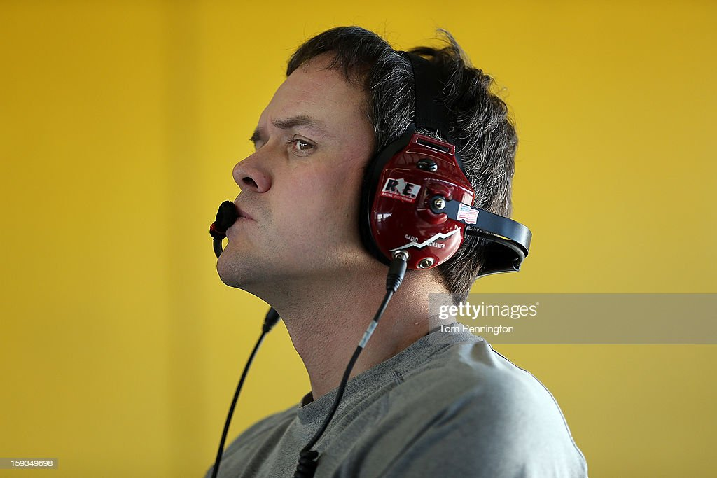 Robert Barker, crew chief for the #13 Ford, works in the garage during the NASCAR Sprint Cup Preseason Thunder testing at Daytona International Speedway on January 12, 2013 in Daytona Beach, Florida.