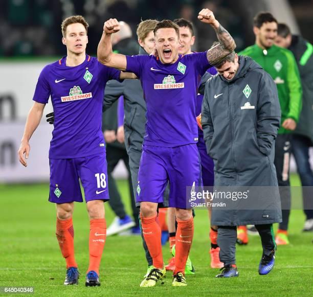 Robert Bauer of Bremen celebrates at the end of the Bundesliga match between VfL Wolfsburg and Werder Bremen at Volkswagen Arena on February 24 2017...