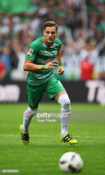 Robert Bauer of Bremen in action during the Bundesliga match between Werder Bremen and FC Augsburg at Weserstadion on September 11 2016 in Bremen...