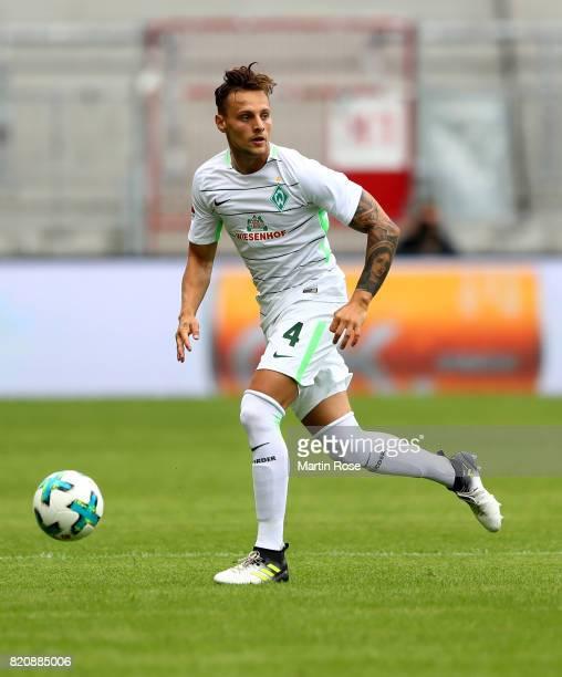 Robert Bauer of Bremen runs with the ball during the preseason friendly match between FC St Pauli and Werder Bremen at Millerntor Stadium on July 22...