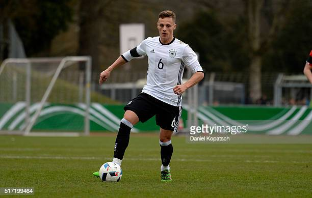 Robert Bauer of Germany controls the ball during the U20 International Friendly match between Germany and Switzerland at Moeslestadion on March 23...