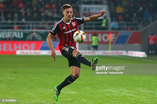 Robert Bauer of Ingolstadt runs with the ball during the Bundesliga match between FC Ingolstadt and 1 FC Koeln at Audi Sportpark on March 1 2016 in...