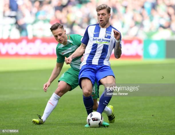 Robert Bauer of Werder Bremen and Alexander Esswein of Hertha BSC during the Bundesliga match between Werder Bremen and Hertha BSC on April 29 2017...