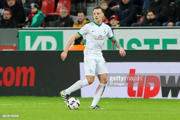 Robert Bauer of Werder Bremen controls the ball during the Bundesliga soccer match between Bayer Leverkusen and Werder Bremen at the BayArena stadium...