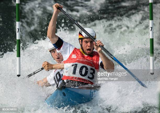 Robert Behling and Thomas Becker of Germany compete during the Canoe Double Men's Semifinal of the ICF Canoe Slalom World Cup on June 24 2017 in...