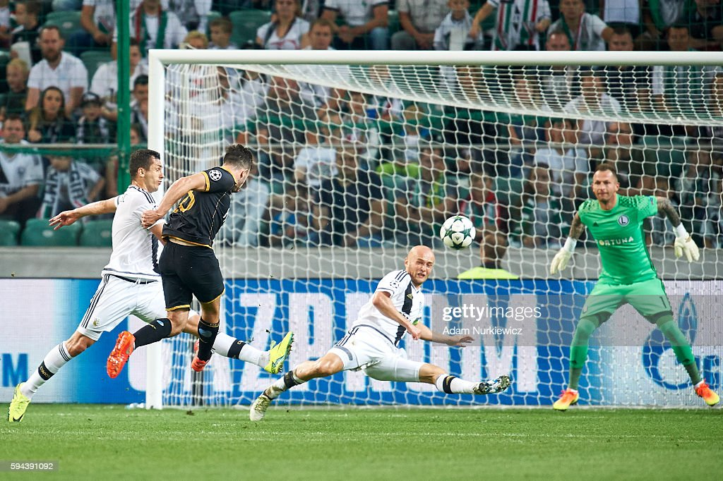 Robert Benson of Dundalk FC scores the goal for his team during Legia Warsaw v Dundalk FC UEFA Champions League Play Off 2nd Leg at the Wojsko...