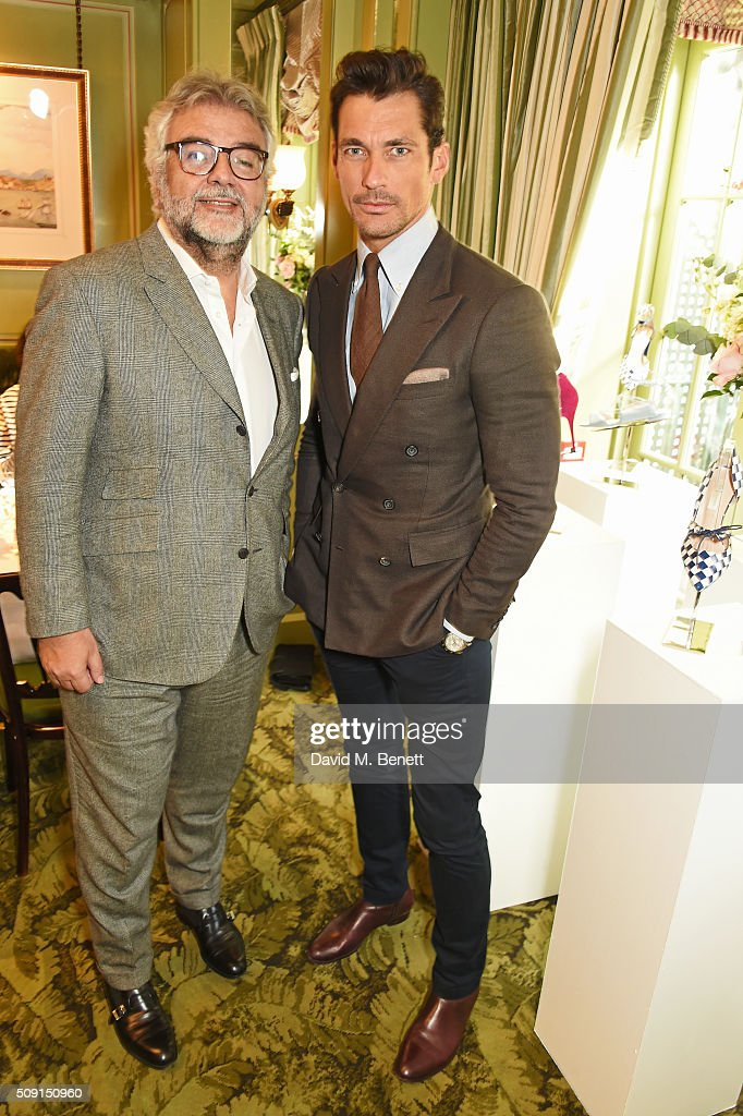Robert Bensoussan, CEO of L.K. Bennett, and David Gandy attend the L.K.Bennett x Bionda Castana lunch at Mark's Club on February 9, 2016 in London, England.