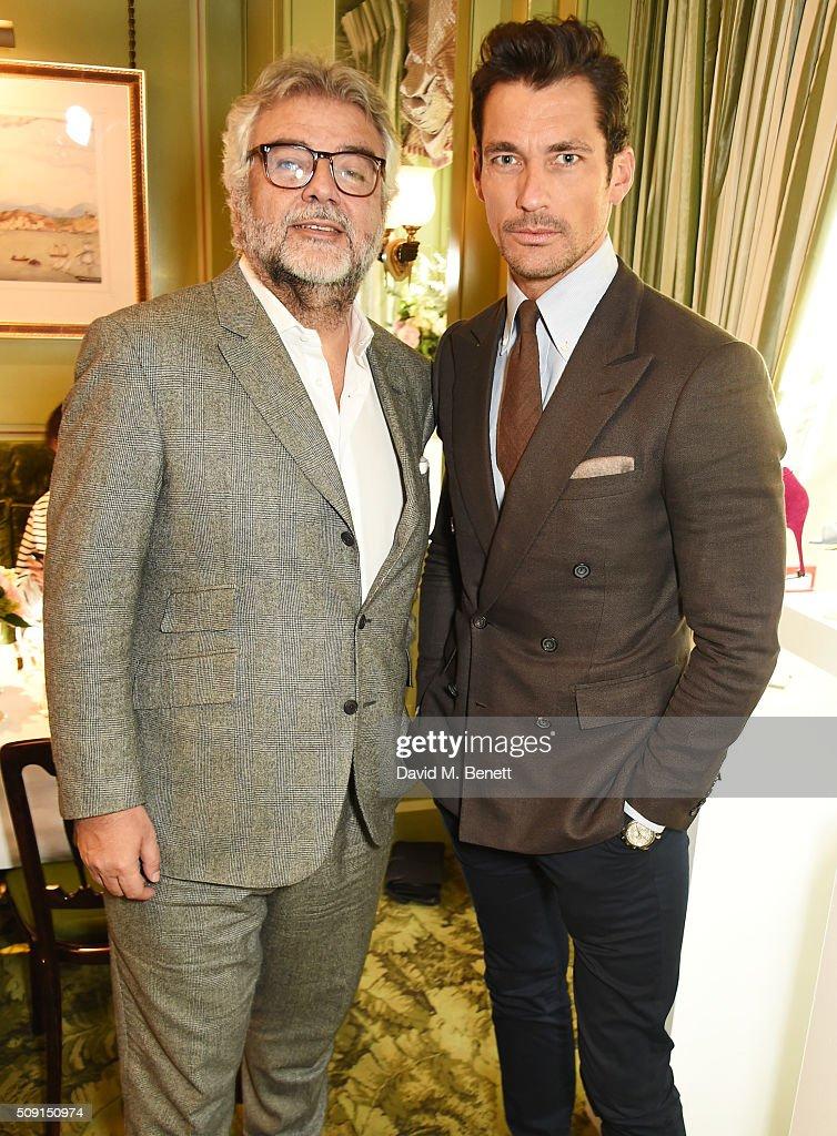 Robert Bensoussan, CEO of L.K. Bennett, and David Gandy attend the L.K.Bennett x Bionda Castana lunch at Mark's Club on February 9, 2016 in London, England.