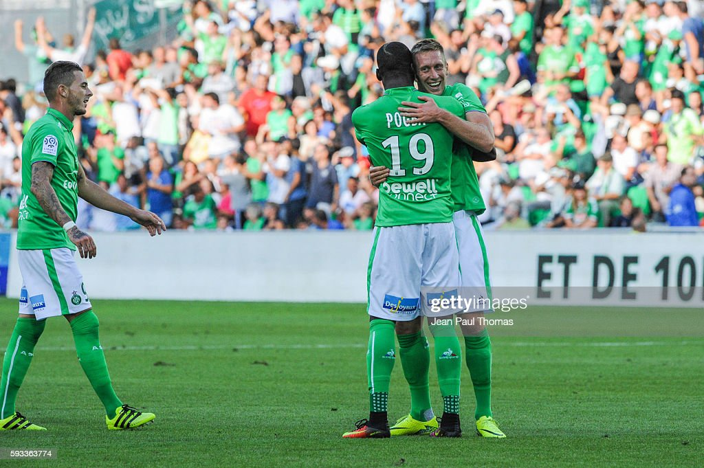 Robert BERIC of Saint Etienne celebrates scoring his goal during the Ligue 1 match between As Saint Etienne and Montpellier Herault at Stade...