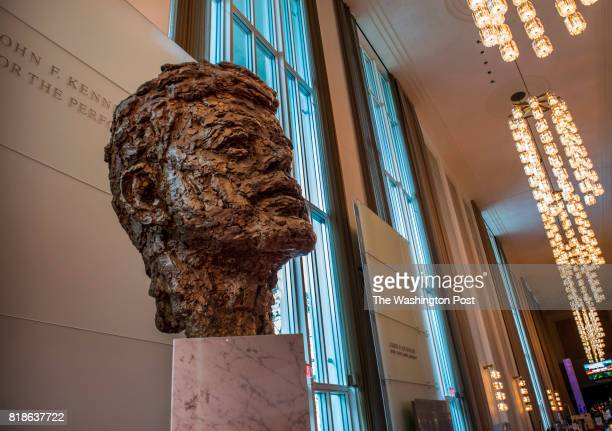 Robert Berks' bronze bust of JFK in the foyer of the Kennedy center one of several local landmarks with historical significance to JFK on April 2017...