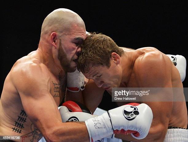 Robert Berridge of New Zealand and Vasily Lepikhin of Russia bump heads during the PABA and WBO Oriental Light Heavyweight Title at Bethlehem Event...
