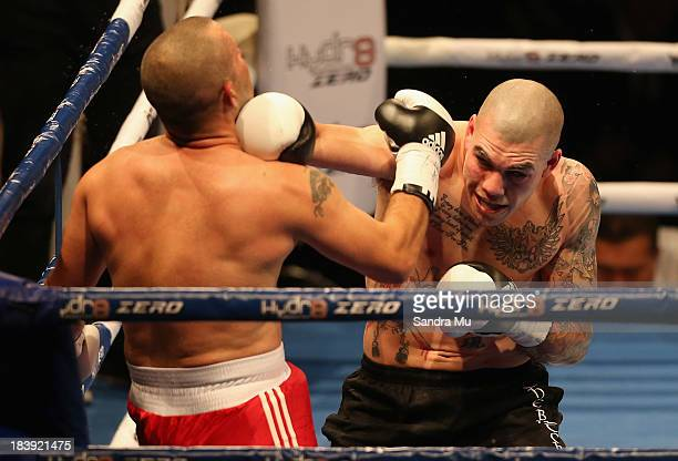 Robert Berridge punches Mariano Riva during the under card fight ahead of the Joesph Parker and Afa Tatupu New Zealand National Boxing Federation...