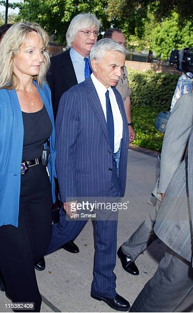 Robert Blake and Attorney Thomas Mesereau Jr arrive escorted by Los Angeles County Sheriff's before a pretrial session on the murder charges he faces...