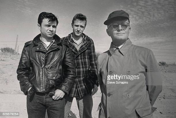 Robert Blake Scott Wilson and Truman Capote during the filming of the 1967 picture In Cold Blood