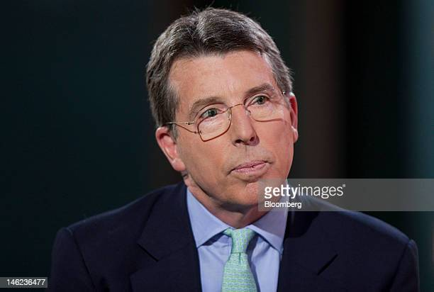 Robert 'Bob' Diamond chief executive officer of Barclays Plc reacts during a television interview in Hong Kong China on Wednesday June 13 2012...