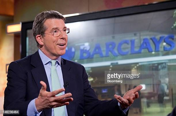 Robert 'Bob' Diamond chief executive officer of Barclays Plc speaks during a television interview in Hong Kong China on Wednesday June 13 2012...