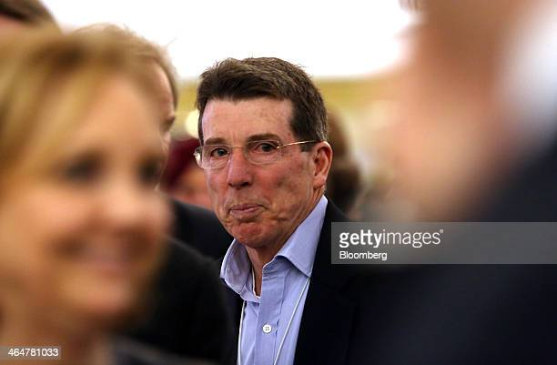 Robert 'Bob' Diamond former chief executive officer of Barclays Plc reacts while speaking with delegates on day two of the World Economic Forum in...