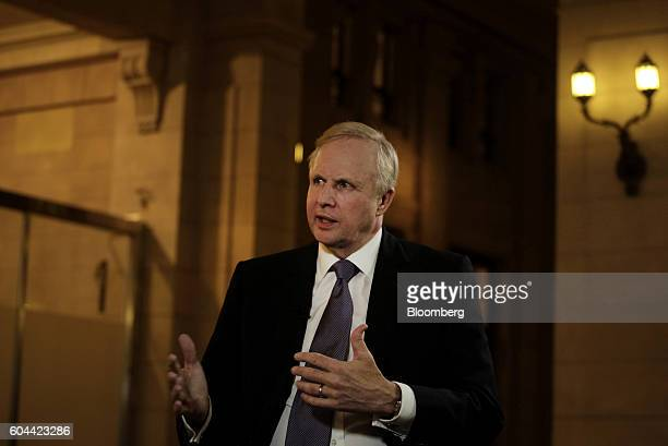 Robert 'Bob' Dudley chief executive officer of BP Plc speaks during a Bloomberg Television interview on the sidelines of the Argentina Business...