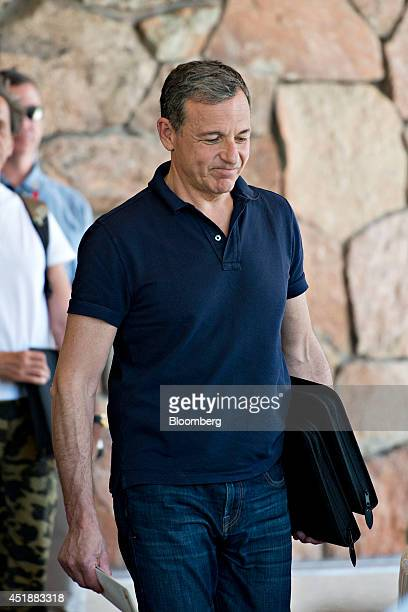 Robert 'Bob' Iger chief executive officer of Walt Disney Co arrives at the Sun Valley Lodge ahead of the Allen Co Media and Technology Conference in...