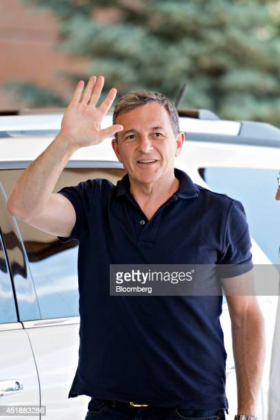 Robert 'Bob' Iger chief executive officer of Walt Disney Co waves as he arrives at the Sun Valley Lodge ahead of the Allen Co Media and Technology...