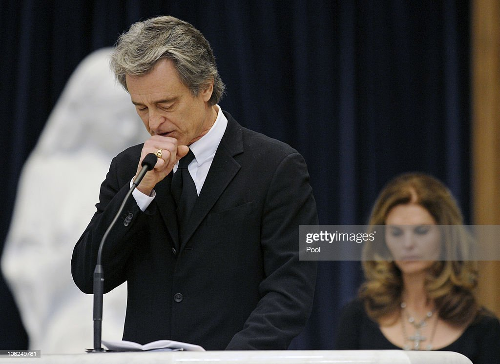 Robert 'Bobby' Shriver III pauses while speaking about his father during the funeral service for Sargent Shriver at Our Lady of Mercy Catholic Church January 22, 2011 in Potomac, Maryland. Robert Sargent Shriver Jr., a politician and activist who was the first leader of the Peace Corps and was involved in other social programs, died this week at the age of 95.
