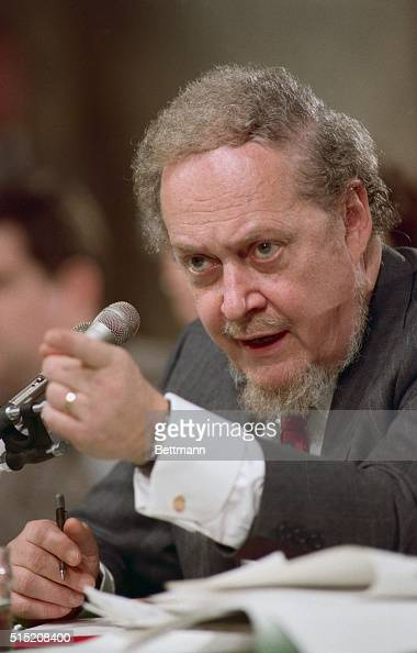 Robert Bork judge for the US Court of Appeals for the District of Columbia Circuit gestures during his testimony on the fifth day of his confirmation...