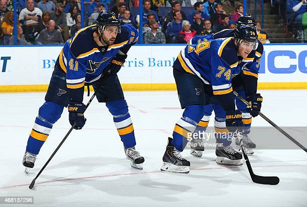 Robert Bortuzzo and TJ Oshie of the St Louis Blues what to face off against the Minnesota Wild at the Scottrade Center on March 14 2015 in St Louis...