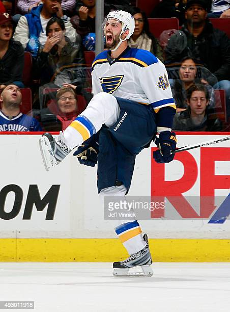 Robert Bortuzzo of the St Louis Blues celebrates after scoring against the Vancouver Canucks during their NHL game at Rogers Arena October 16 2015 in...
