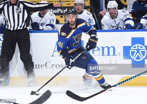 Robert Bortuzzo of the St Louis Blues handles the puck against the Tampa Bay Lightning on December 1 2016 at Scottrade Center in St Louis Missouri