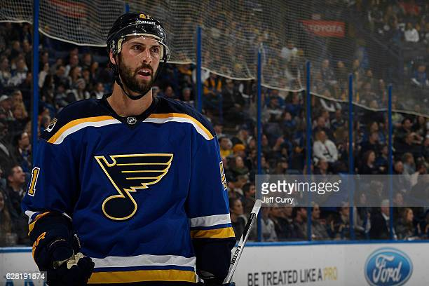 Robert Bortuzzo of the St Louis Blues looks on during a game against the Minnesota Wild on November 26 2016 at Scottrade Center in St Louis Missouri