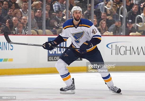 Robert Bortuzzo of the St Louis Blues skates against the Pittsburgh Penguins at Consol Energy Center on March 24 2015 in Pittsburgh Pennsylvania