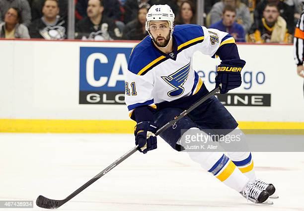 Robert Bortuzzo of the St Louis Blues skates during the game against the Pittsburgh Penguins at Consol Energy Center on March 24 2015 in Pittsburgh...