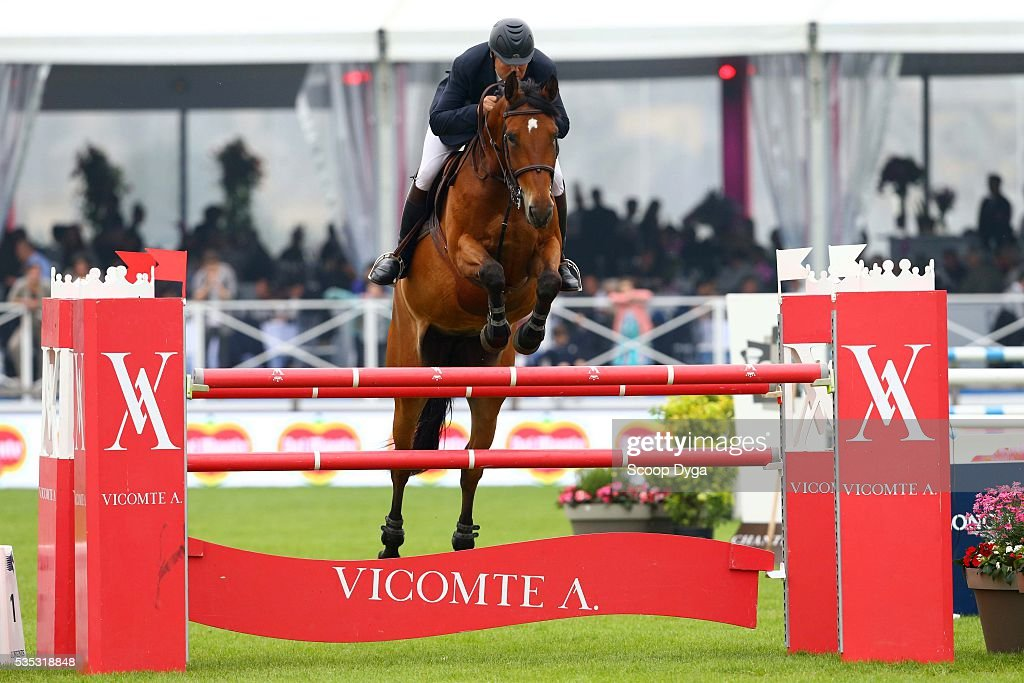 Robert BREUL of France rides BASHKA DE MOORTINSART during the Master Airbus Jumping of the Longines Global Champions Tour at Hippodrome de Chantilly on May 29, 2016 in Chantilly, France.