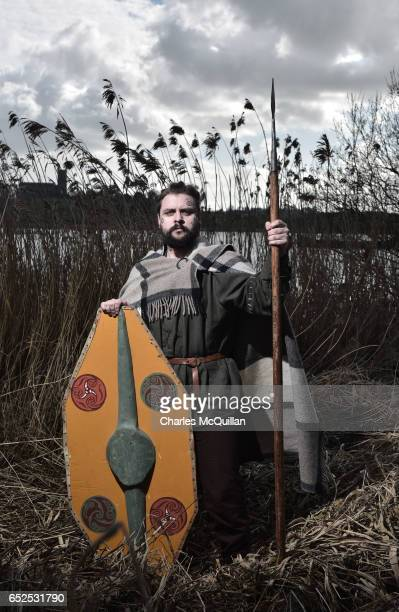 Robert Brown playing one of King Dichu's warriors poses for a portrait as the reenactment of the landing of Saint Patrick on Irish shores takes place...