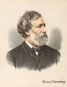 Robert Browning English poet and dramatist From The Modern Portrait Gallery Cassell Petter Galpin London c1880 Tinted lithograph
