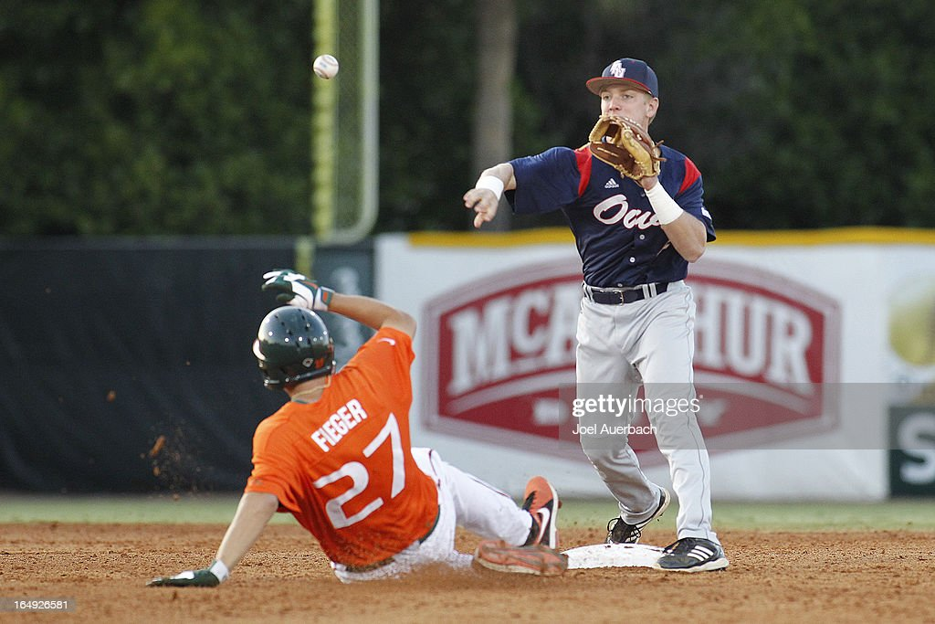 <a gi-track='captionPersonalityLinkClicked' href=/galleries/search?phrase=Robert+Buckley&family=editorial&specificpeople=981297 ng-click='$event.stopPropagation()'>Robert Buckley</a> #42 of the Florida Atlantic Owls gets Brad Fieger #27 of the Miami Hurricanes out at second base but is unable to complete the double play on March 27, 2013 at Alex Rodriguez Park at Mark Light Field in Coral Gables, Florida. Florida Atlantic defeated Miami 6-1.