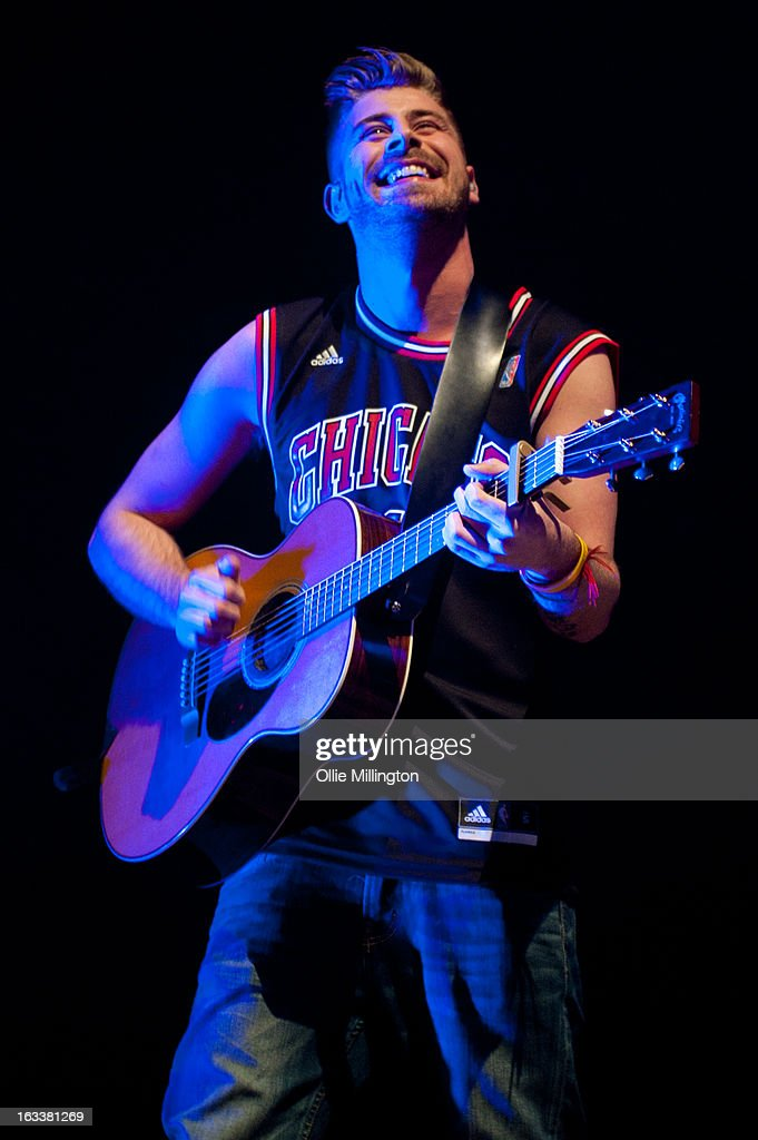 Robert Burch of The Original Rudeboys performs on stage in concert on the opening night of their first UK tour supporting The Script on their March 2013 UK Tour during the #3 World Tour at Nottingham Capital FM Arena on March 8, 2013 in Nottingham, England.