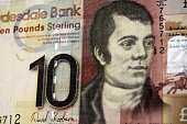 The famous Scottish poet Robert Burns on the front of a ten pound note from the Clydesdale Bank in Scotland.