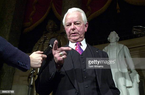 Robert C Byrd DWVa answers questions during a TV interviews in Statuary Hall on President Bush's address to the Joint Session of Congress