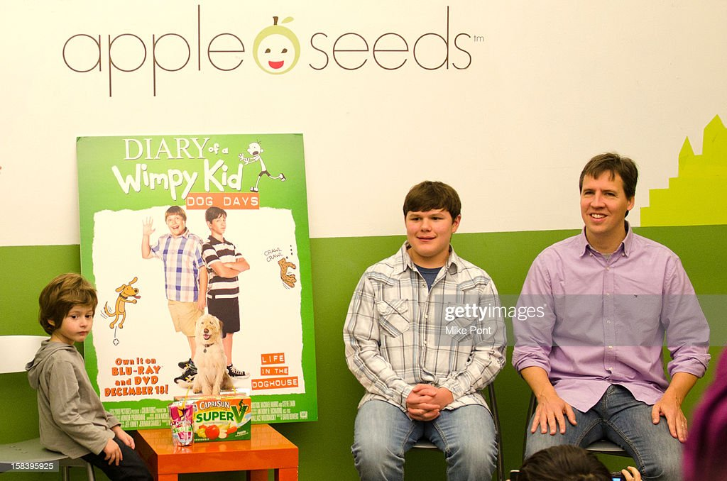 Robert Capron and Author Jeff Kinney attend 'Diary Of A Wimpy Kid: Dog Days' DVD Release Launch Event at apple seeds on December 15, 2012 in New York City.
