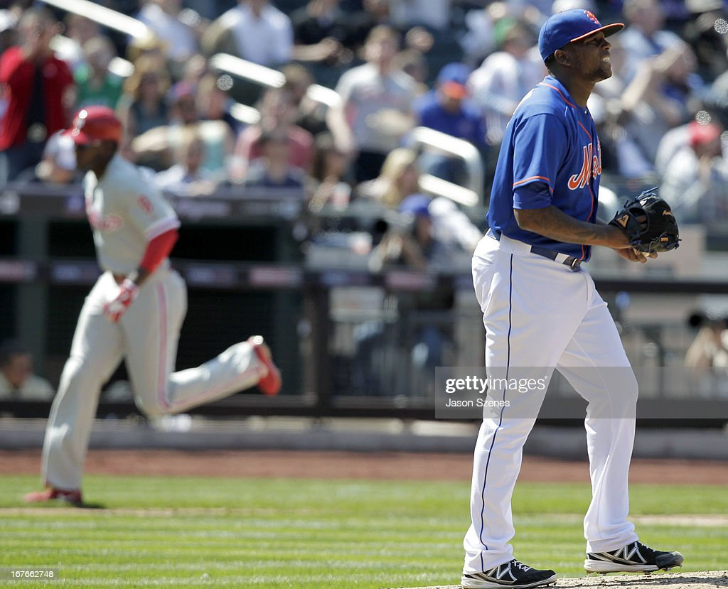 Robert Carson #73 of the New York Mets reacts after giving up a three run home run to right fielder Domonic Brown #9 of the Philadelphia Phillies in the fifth inning against the New York Mets at Citi Field on April 27, 2013 in the Flushing neighborhood of the Queens borough of New York City. (Photo by Jason Szenes/Getty Images