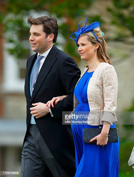 Robert Carter and Hannah Carter attend the wedding of William van Cutsem and Rosie Ruck Keene at the church of St Mary the Virgin in Ewelme on May 11...