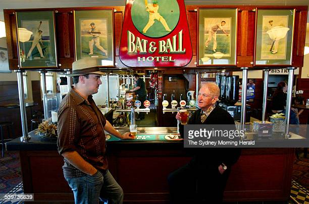 Robert Carter from Surry Hills having a quiet beer at the Bat and Ball Hotel in Redfern with Bob Ronan of Redfern whilst delivering a post mortem on...