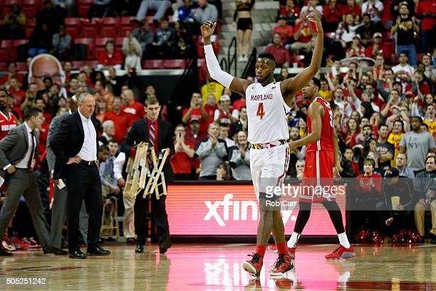 Robert Carter of the Maryland Terrapins celebrates during a second half time out against the Ohio State Buckeyes at Xfinity Center on January 16 2016...
