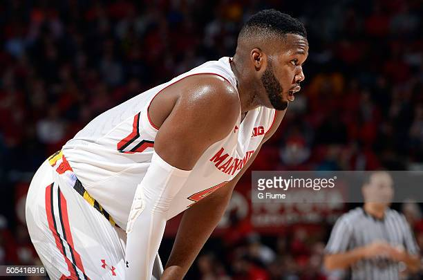 Robert Carter of the Maryland Terrapins rests during a break in the game against the Ohio State Buckeyes at Xfinity Center on January 16 2016 in...