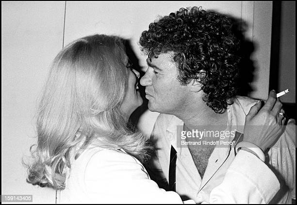 Robert Charlebois in his dressing room with Catherine Deneuve following the premiere of his show at Palais Des Congres venue in Paris in 1979