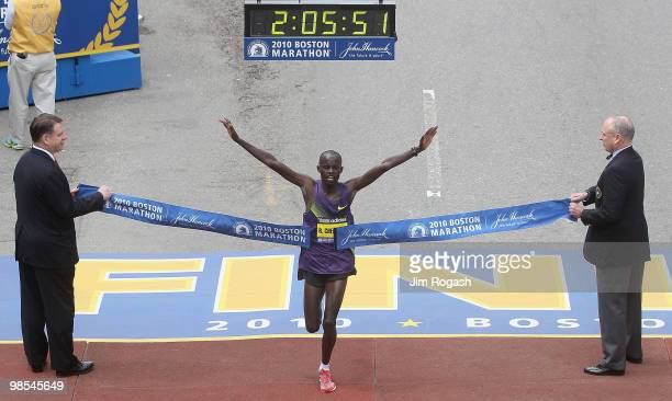 Robert Cheruiyot reacts as he crosses the finish line to win the men's division of the 114th Boston Marathon on April 19 2010 in Boston Massachusetts